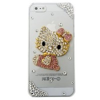 """MinisDesign® 3D Bling Crystal Flat Back Rhinestone Pink Hello Kitty Transparent Case, Cover for The New """"Apple iPhone 5"""" (Color:Pink, Fits: At&t, Sprint, Verizon)"""