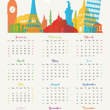 Large BIG 2016 annual wall calendar poster Europe, Paris France, Italy, London UK, Pisa, Athens, red blue peach green yellow 50 x 70 cm