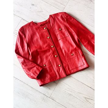 Amazing 80s Bright Red Leather Jacket