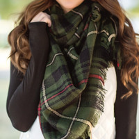 Cute & Cozy Plaid Scarf-Forest