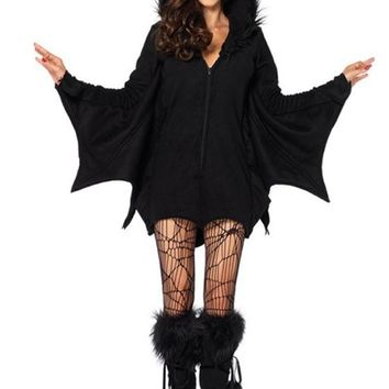 Black Plain Hooded The Vampire Batman Cosplay Halloween Mini Dress