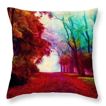 Decorative accent throw pillow. Colorful autumn watercolor landscape, trees, forest, autumn, light, red green bright artwork on pillow