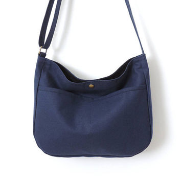 Canvas Hobo Bag Crossbody Bag Slouch Bag Purse Blue