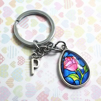 New Movie Belle Beauty and the Beast Rose KEY CHAIN Beast Time gem glass Alloy pendant Toys Action Figures Gift