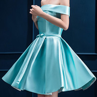 Sky Blue Off Shoulder Bow Waist Homecoming Bandeau Dress