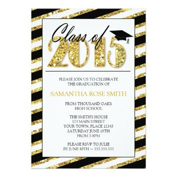 Black & Gold 2015 Graduation Party Invitation