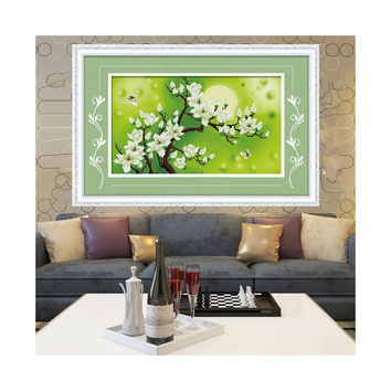 3D Cross Stitch Moon Magnolia Denudata Precise Printing Living Room Bedroom Diamond Painting Landscape Series