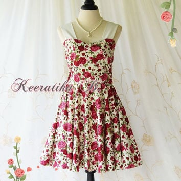 A Party Princess - Retro Vintage Inspired Red Floral Dress Roses Spring Summer Sundress Bridesmaid Party Prom Dress Tea Dress Custom Made