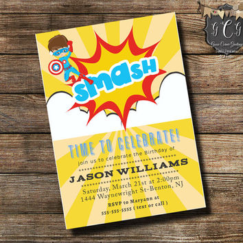 Kids Invitations, Superhero Invitations, Boys Birthday Invitation, Superhero Party,Superhero party Invitations, Superhero Birthday Invite