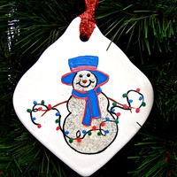 Hand Painted Snowman With Blue Hat Porcelain Ornament