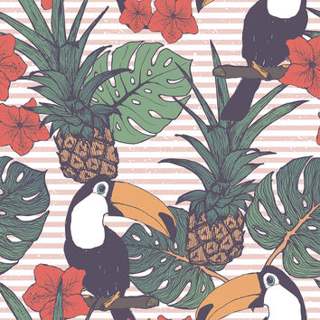 Toucans and Pineapples Removable Wallpaper