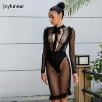 Sexy Bandage  Bodycon Black Dress 2017 Summer  Women Party Dresses Luxury O-neck Mesh Long Sleeve  Dress perspective gauze dress