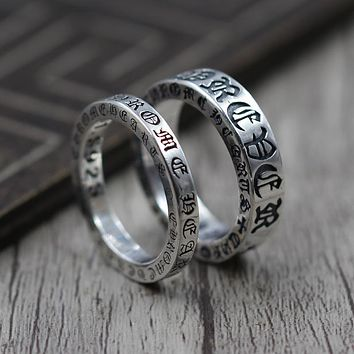 925 Sterling Silver Jewelry Personality Forever Couple Refers Ring Thai Silver Retro Unique Ring