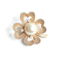 Four Leaf Clover Pin Faux Pearl Rhinestones Signed JJ Vintage