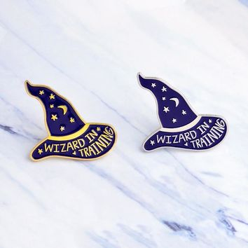 Trendy Wizard in training Personality Witch Magic Wizard Hat Brooch Star Moon Enamel Pin Denim Jacket Jewelry Gifts for Children Friend AT_94_13