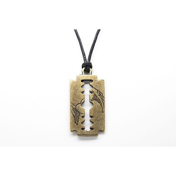 Razor Blade Unisex Necklace with Rope