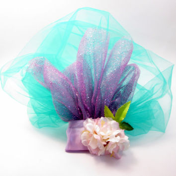 Mermaid Inspired Teal and Lavender Blusher Veil - Under the Sea - Engagement Photos Prop - Halloween Costume - Little Bridal Netting Comb