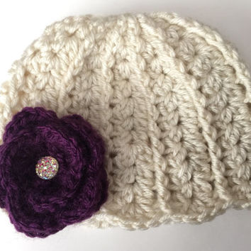 Double Cluster Beanie/ Hat with Flower - Any Color(s)  - Newborn to 12 months