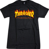 Thrasher Flame Tee Large Black