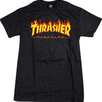 Thrasher Flame Tee Small Black