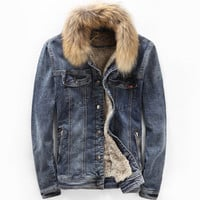 Denim Lined Jacket with Fur Collar