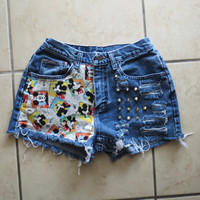 Mickey mouse Disney High Waisted denim Shorts