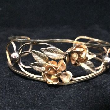 Carl Art 12k Gold Filled Floral Cuff Bracelet Rose Flower Design Mid Century Vintage Jewelry, Costume Jewellery, Antique Revival 518m
