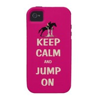 Keep Calm and Jump On Pink Horse Case-Mate iPhone 4 Cases from Zazzle.com