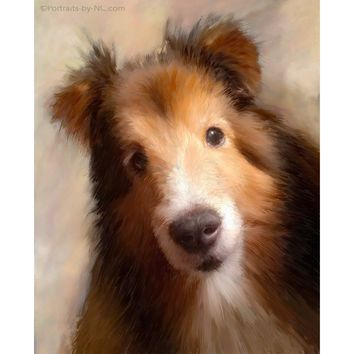 Custom Sheltie Dog Digital Portrait