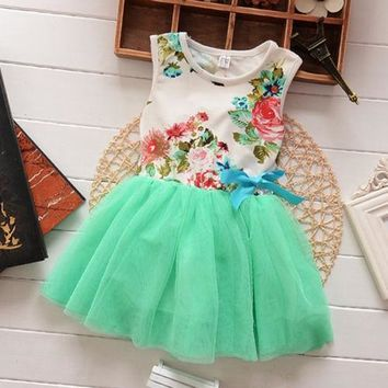 Baby dresses for girls infant cotton clothing sleeveless tutu dress ribbons beautiful summer clothes flower printed + lace DRESS