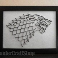 House stark banner paper wall art framed, stark sigil, game of thrones, direwolf, winter is coming, song of ice and fire, Winterfell, hbo
