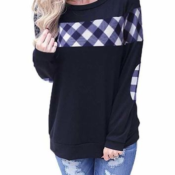 Blue Color Block Plaid Shirt Crew Neck Elbow Patch Sweatshirt
