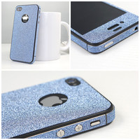 Shiny Sparking Blue Rhinestone Fashion Sticker For iPhone 4/4s/5