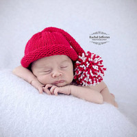 Newborn Baby Santa Hat - Father Christmas elf stocking hat - photo prop - holiday gift - hand knitted - vegan - first Christmas