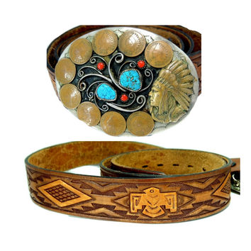 Vintage Silver Indian Coin Turquoise Buckle Leather Thunderbird Belt Men's Southwestern
