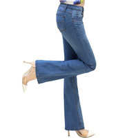 2016 New Women Flare Jeans Fashion Slim Elastic Fit Denim Female Pencil Stretchy Skinny Pants Bell Bottom Jeans Trousers