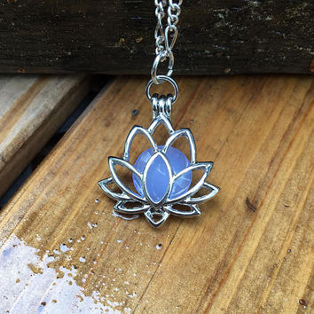 "Silver Lotus pendant Silver Lotus flower necklace Lotus Locket Lotus pendant Lotus jewelry 18"" chain"