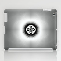 Black and White Abstract Fractal Flower iPad Case by Jacqueline Turton Designs