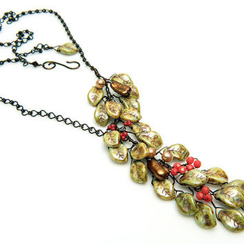 Green Leaf Necklace with coral and pearls, Asymmetric Necklace, Nature Jewelry, Woodland Jewelry, Fall colors