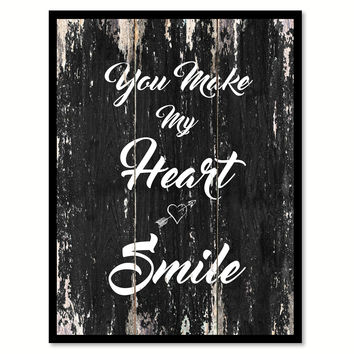 You make my heart smile Romantic Quote Saying Canvas Print with Picture Frame Home Decor Wall Art