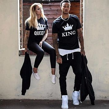 Summer Lovers Tshirt KING QUEEN Imperial Crown Couple T-shirt Women Men Funny Letter Print T Shirts His and Hers Gifts For Loved