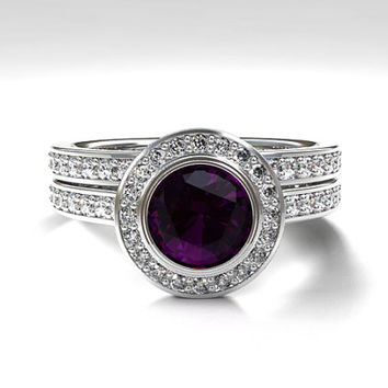 Purple spinel halo engagement ring set, diamond, white gold, eternity, spinel engagement, bezel, vintage, diamond halo, purple engagement