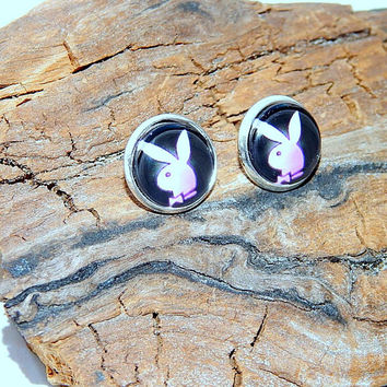Playboy Bunny logo earrings, Playboy Bunny emblem, Playboy Bunny simbol, Playboy Bunny patch, Playboy Rabbit Bunny earrings logo jewelry