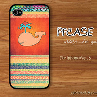 Sweet Whale with abstract Pattern : Handmade Case for Iphone 4/4s , Iphone 5