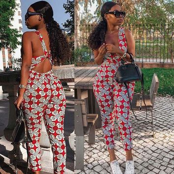 African women's personality jumpsuit new fashion sexy print backless cross personality jumpsuit vest waist national print jumpsu