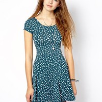 New Look Heart Print Skater Dress