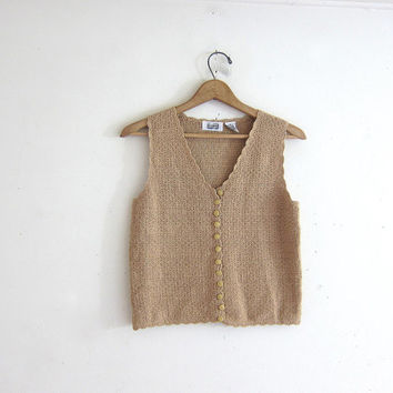 20% OFF SALE Vintage oatmeal beige Sleeveless Cardigan sweater top. Cropped button up sleeveless Sweater top. Simple Boho Modern