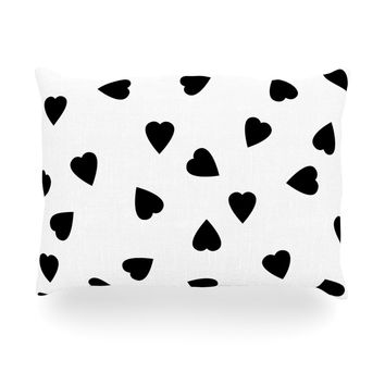 """Suzanne Carter """"Hearts Black"""" White Oblong Pillow"""