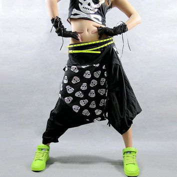 Hip Hop Black Skull Women Harem Pants