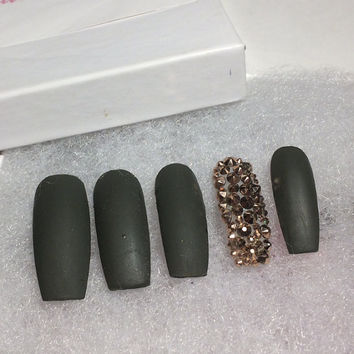 G.I. Glam|Custom Designer |  Press On Nails |Any Shape and Size | Fake False Glue On Nails|HandPainted Nails| Swarovski Stones
